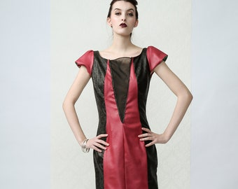 Triangle - Asymmetric Vegan Leather Pink Dress with semi transparant decolete