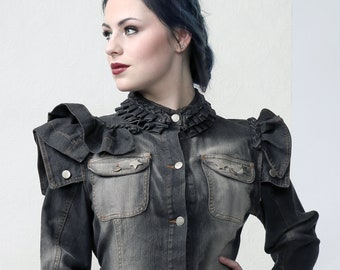RUFFLE - Denim Couture Jacket, sculptured details, Victorian style, perfect for Burning Man, dressing up and stage performance. Size large