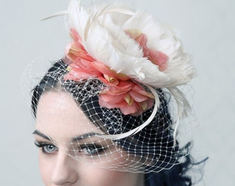 Vienna - Fascinator cocktail hat, bridal hat, Ascott Hat, Burlesque Hat