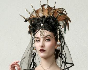 LOST EMPRESS- Halo Crown Headdress, Theatrical Hat, Costume Design, Textile Art, Wearable Art, Burning Man, Crown