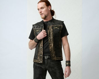 MATS - Hand Painted Biker Vest for a rock minded lifestyle, burning man fest or stage perfornace