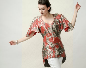 SHINE - Red and silver couture top with metal studs