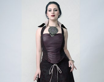EPIC - Dark purple corset dress made of vegan leather and floral print burned velvet for alternative wedding, gala or stage performance