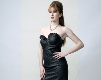 RIVER - Couture bustier dress decorated with metal studs