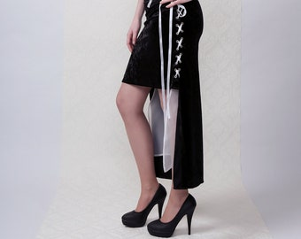 JANE - Black & White A-symmetric Skirt, Goth, Rock, Punk style skirt