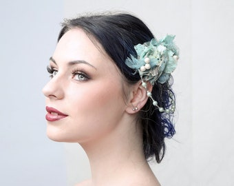 "Couture fascinator ""BETTY BLUE"" excellent for wedding, prom ball or special occassions"