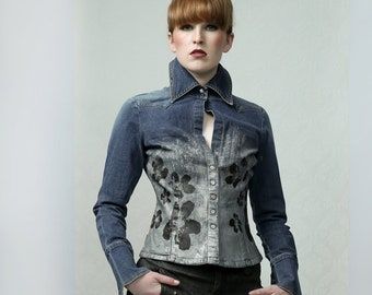 SILVER & FLOWERS - Art Print SAhirt, Denim womens shirt, tailored shirt, jeans shirt