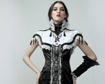 VICTORIA - Victorian collar with single arm sleeve, one of a kind hand embroidered couture