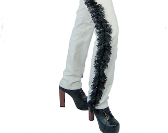 SALMIAK - Couture pants with ruffled lace sides