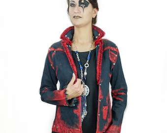 Lola - Handpainted denim jeans jacket decorated with pleated red satin trim and metal studs