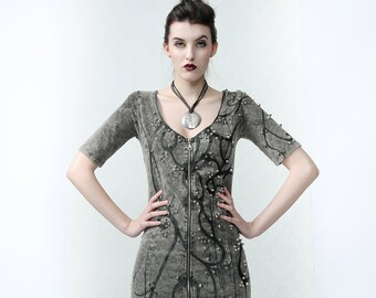 Couture Dress 'DRIPPING' - Rock, punk style handpainted dress with studs. Eye cathing outfit for Burning Man or stage performances
