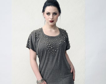 Couture top 'SPIKED' - Punk, Rock style, studded, grey, boot neck, spike studs and silver dots, one of a kind, handmade, fits size M/L