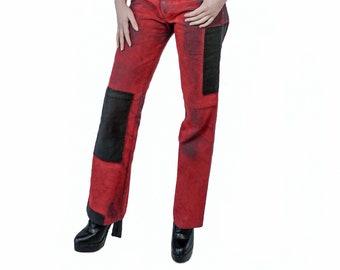 FREY - Couture pants, red velvet, black ink coated details,