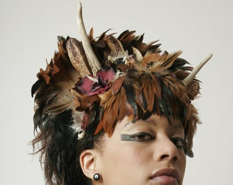 ISIS - feather headdress, Couture Hat, headpiece, perfect for Burning Man, Stage performance or Cosplay events