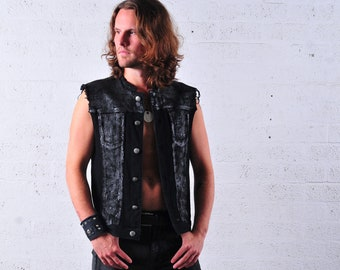 BLACKENED - hand painted denim vest perfect for Burning Man, concerts, festivals or stage performances