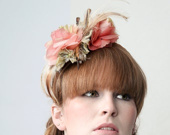 ENGLISH ROSE - Couture Fascinator Hat for Wedding, Burlesque, Ascot Races, Beach Party, Prom, Drag Queen, Stage Performance