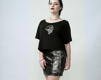 Snake - studded mini skirt with hand-painted vegan leather snake- print