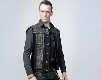 Blackened - hand painted rock style denim vest perfect for Burning Man, concerts and festivals or stage performances