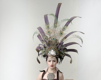 INCA - Couture Inca style Headdress for stage performance, cosplay events or Burning Man Fest