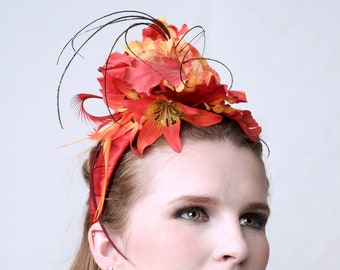 TULIPS & LILIES - Fascinator for Wedding, Beach Party, Burlesque, Prom, Gala, Red Carpet, Shoots or Showbizz