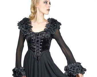 Black Rose - Medieval/Gothic style Tunica Dress Size 34