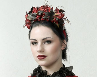 Ruby - Flower headdress with roses and ivory leafs perfect for prom night, gala, wedding, burning man, burlesque stage performance