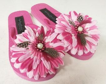 Handmade 'FLOWER POWER'  Couture Flip Flops