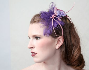 PURPLE PUNCH - Couture fascinator for Wedding. My Sweet Sixteen, Prom ball, Beach Party or Red carpet event