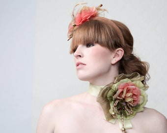 "Couture Corsage ""TOAST And TEA"" neck corsage with large rose flower"