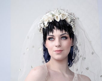 "Couture headpiece ""SNOW WHITE"". Unique, one of kind bridal headpiece"