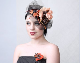 TANGARINE DREAM - Pill Box Hat for Wedding, Burlesque, Parties, Ascot races, Prom, Gala, Drag Queens, Red Carpet events or Showbizz