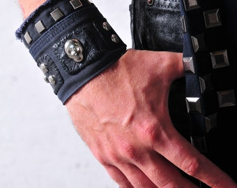 Mens wristband 'FADE to BLACK'  Black and dark blue cotton with leather studded wristband