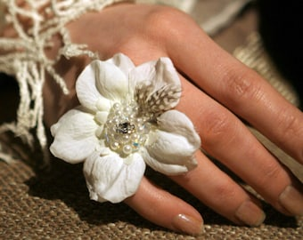 "Flower Ring ""BRIGHT""  perfect for wedding, prom ball or red carpet event"