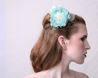 Couture Fascinator 'BLUE SKY' excellent for wedding, prom ball or special occassions