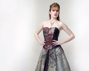 FLORALY - Gown of Denim and vegan leather with multilayered organza petticoat for alternative wedding, gala or stage performance