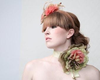 TOAST & TEA - Neckpiece corsage for Wedding, Beach Party, Burlesque, Ibiza, Prom, Gala, Red Carpet, Drag Queen, Showbizz