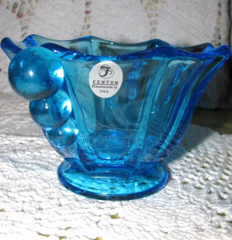 Fenton Blue Ball Glass Handled Sugar Bowl w Fenton  Sticker Made in the USA Free USA Shipping Insurance and Tracking Included in Price