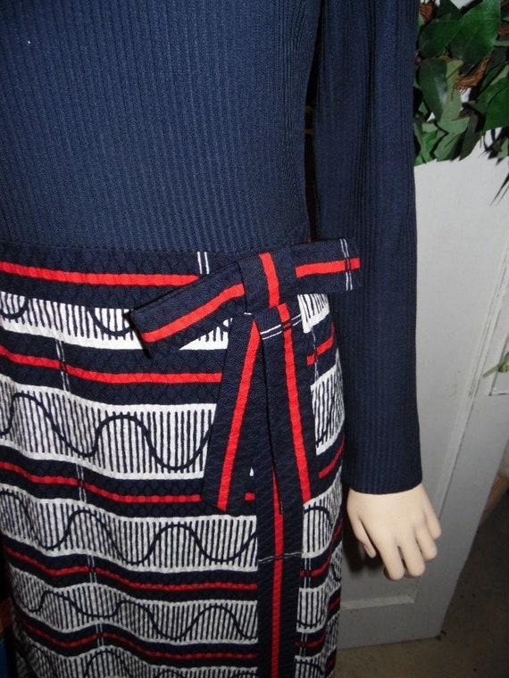 Vintage Red White Blue Long Dress by Parade New Yo