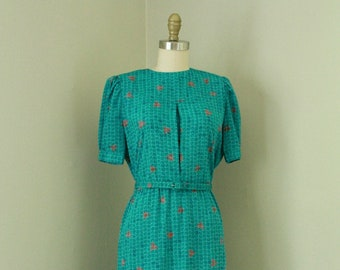 Vintage 1970's Teal Blue Geometric Print Secretary Dress / 70s Belted Bloused Shirtwaist Dress
