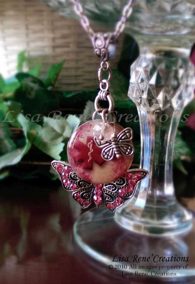 002 Butterfly Kisses Medical Id Charm Necklace