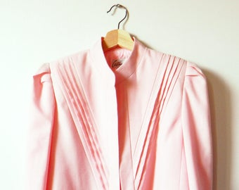 Vintage Pastel Pink Diagonal Pleat Jacket / Summer Pastel Blazer / Linen Textured Cropped Jacket / New Old Stock