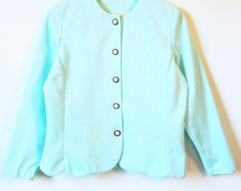 Aqua Blue Cropped Jacket / Scalloped Edge Blazer in Pastel Blue / Retro Spring Jacket in Pastel Aqua