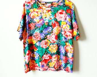 Crazy Floral Vintage Blouse / Boxy and Bold Floral Top / Slouchy Wildflower Bouquet Blouse