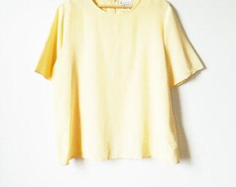 Silk Buttercream Pastel Vintage Blouse / Boxy Vintage Spring Blouse / Pastel Yellow Slouchy Blouse