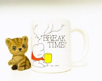 Vintage Ziggy Mug / Break Time Coffee Break / Vintage Coffee Mug / Retro 80s Cartoon Stoneware Mug
