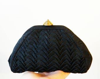 Vintage Mini Ruffled Clutch / Black Retro Evening Bag / Vintage Ruched Clutch Purse / 1960s Vintage Clutch