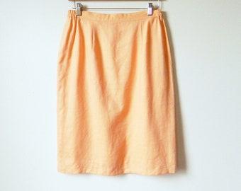Peachy Apricot Pastel Vintage Pencil Skirt / Spring Pastel Linen Skirt with Pockets / Pastel Pencil Skirt 29-32 Waist / Orange Creamsicle