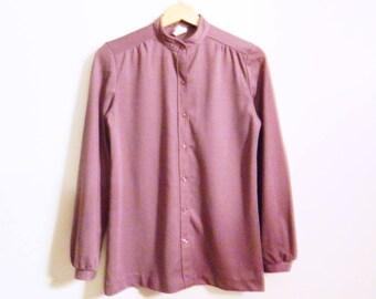 Plum Lavender 70s Blouse / Retro Dusty Plum Pleated Top / Vintage Purple Secretary Blouse