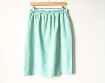 Vintage Cotton Chambray Midi Skirt / Pale Sage Green Skirt / Pastel Green Pencil Skirt / Plus Size High Waisted Skirt / 31 to 40 Waist