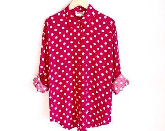 ced498a57d7f6 Polka Dot Vintage Button Down Blouse   80s Retro Dot Shirt   Statement  Blouse